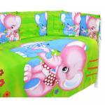Lenjerie patut cu 5 piese Blue and Pink Elephants