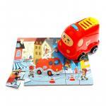 Puzzle din lemn - Masinuta de pompieri