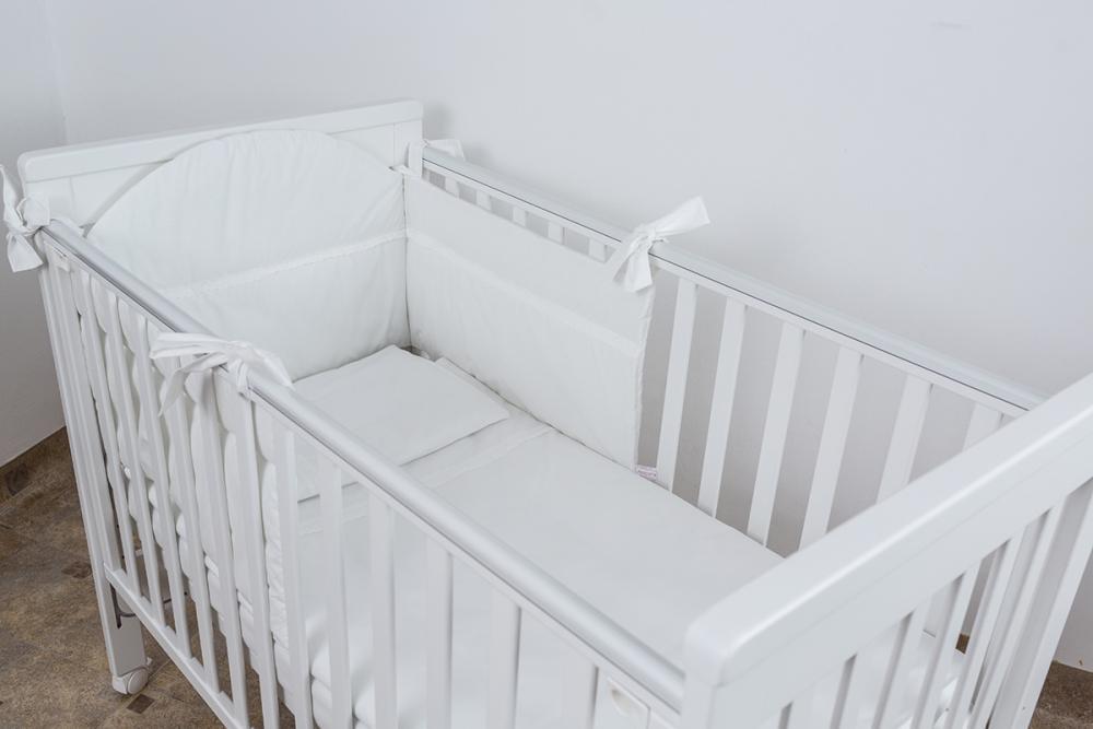 Lenjerie patut bebe cu 3 piese Alba cu dantela 140x70 cm