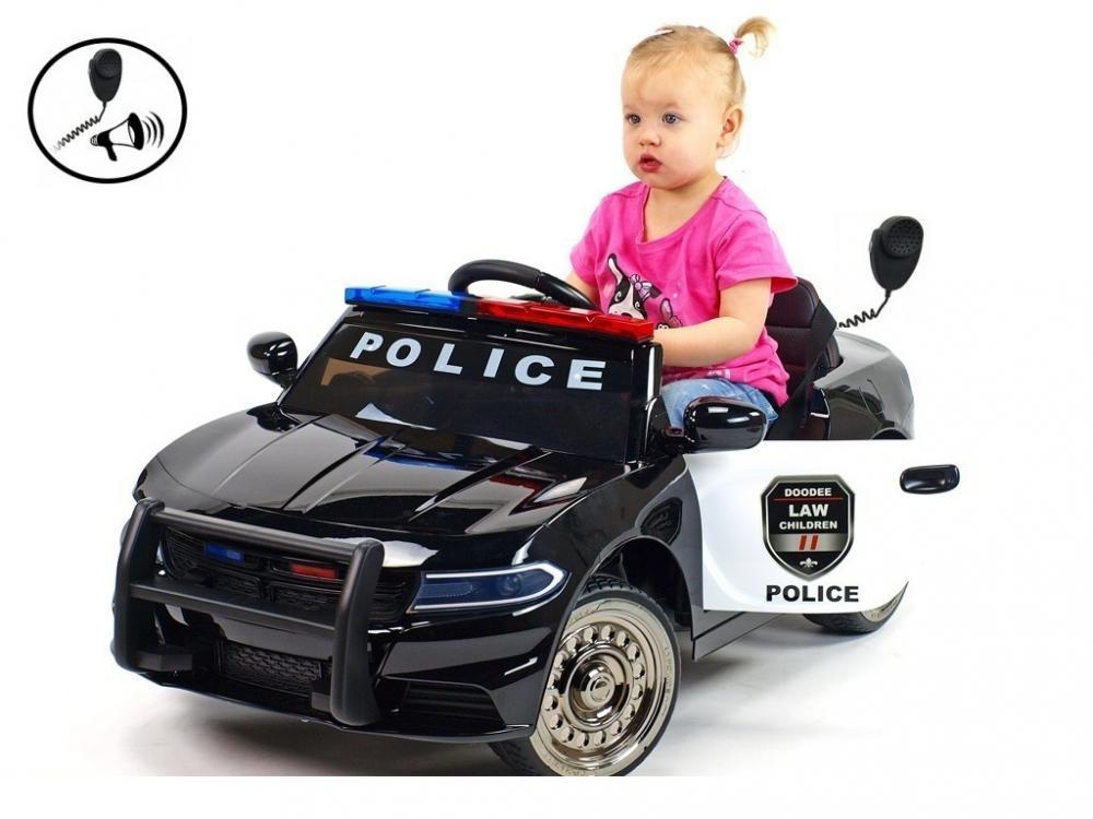 Masinuta electrica Police Patrol Black cu scaun de piele imagine