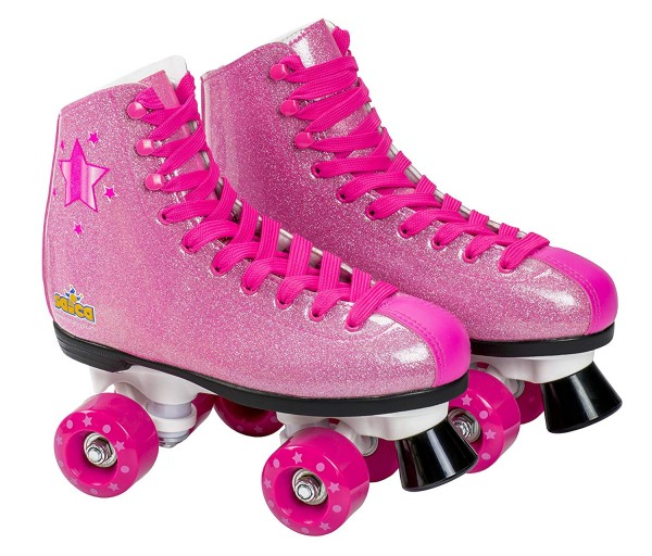 Patine cu rotile pentru fete Saica 6991 Shak marime 33 roz cu sclipici