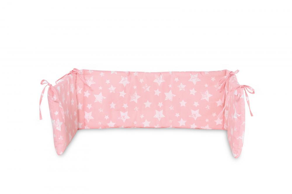 Protectie laterala pat 140 x 27 cm bumbac ranforce Little Stars Pink imagine