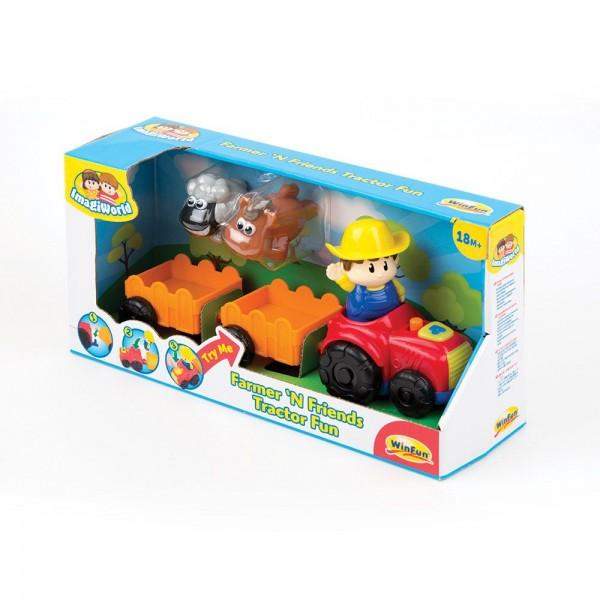 Tractor muzical pentru copii Winfun cu 2 remorci si 2 animale cauciuc