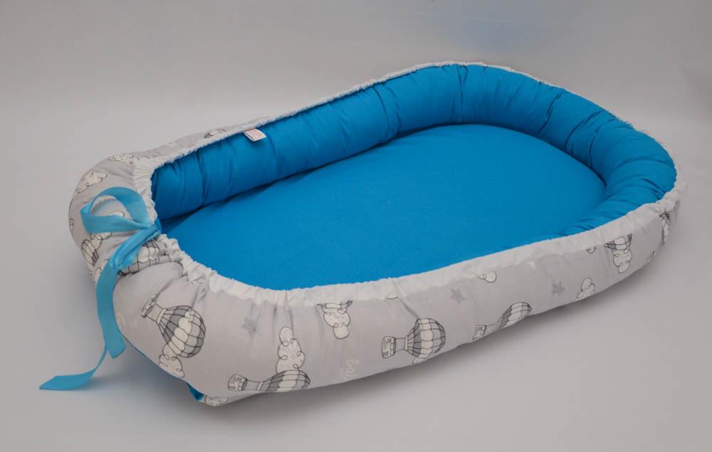 Baby Nest 0-6 luni Baloane si albastru