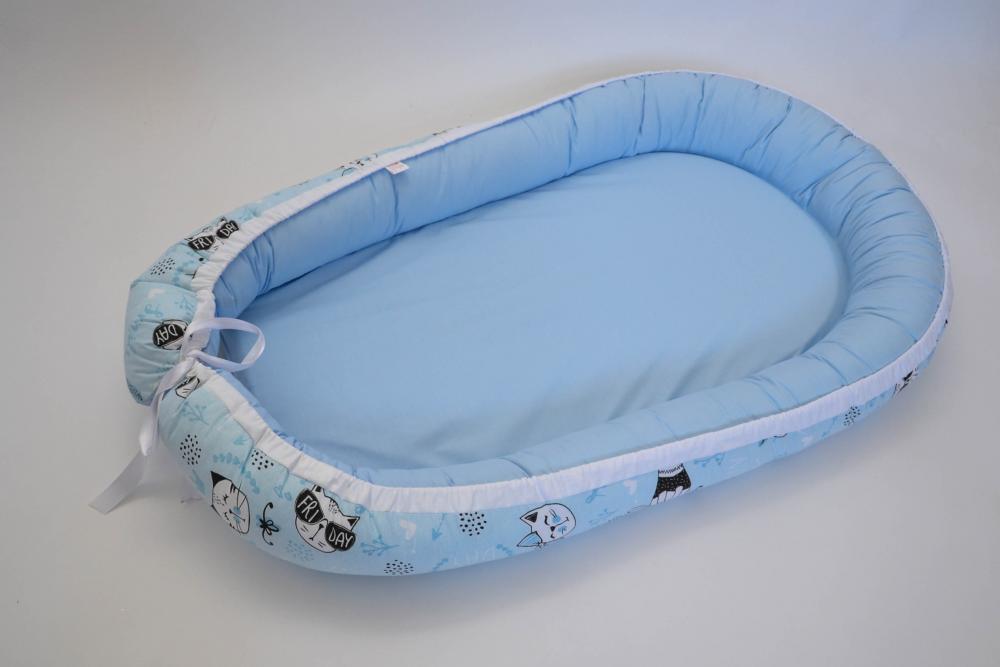 Baby Nest 0-6 luni Bleu si pisici