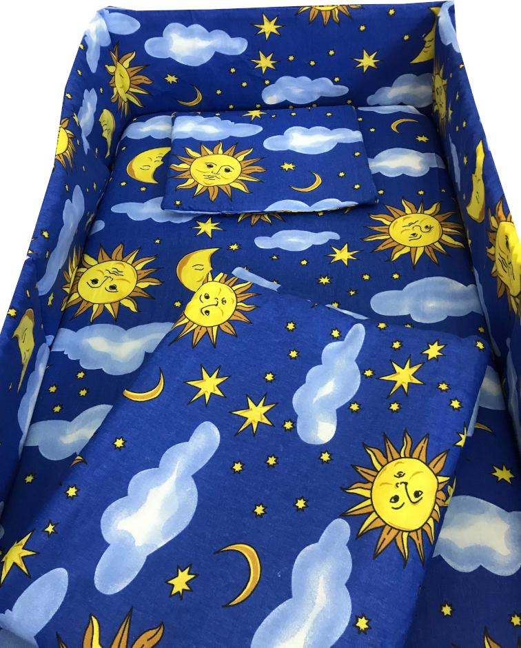 Lenjerie patut cu 5 piese Soarele si luna 140x70 cm
