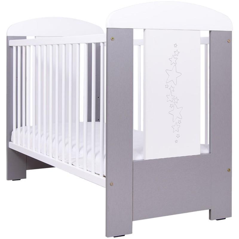 Patut bebelusi din lemn 120x60 cm Baby Stars silver