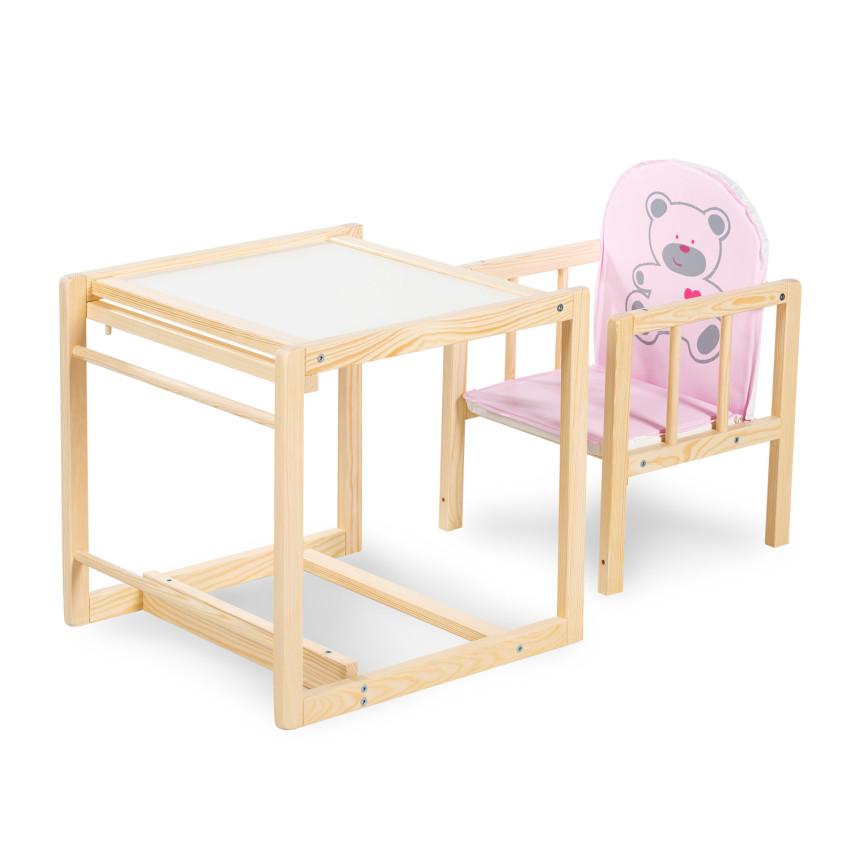 Scaun de masa multifunctional din lemn Klups Aga Natur Ursulet roz C4 imagine