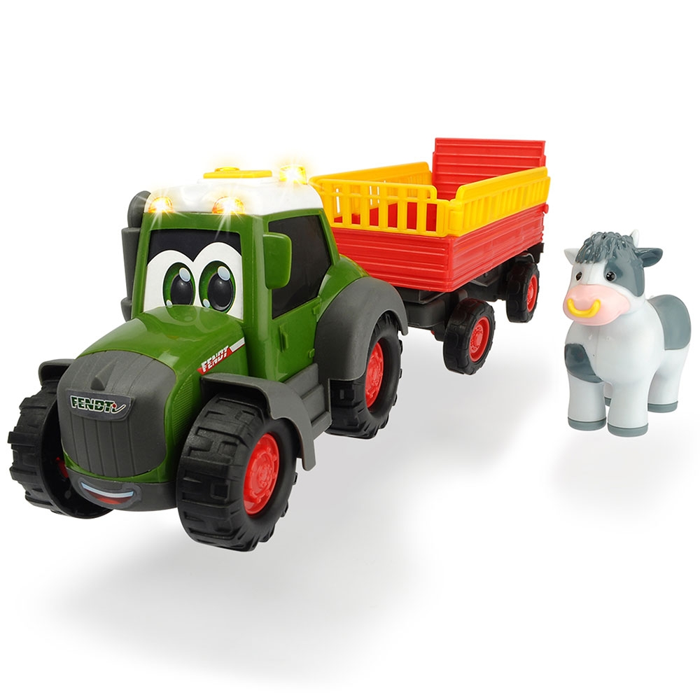 Tractor Happy Fendt Animal Trailer cu remorca si figurina Dickie Toys