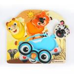 Jucarie de lemn Hape Friendly Safari Faces Puzzle Baby Einstein