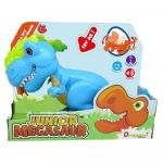 Dinozaur Junior T-Rex cu lumini si sunete bleu