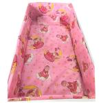 Lenjerie patut cu 5 piese Bunica Ursulet roz 120x60 cm