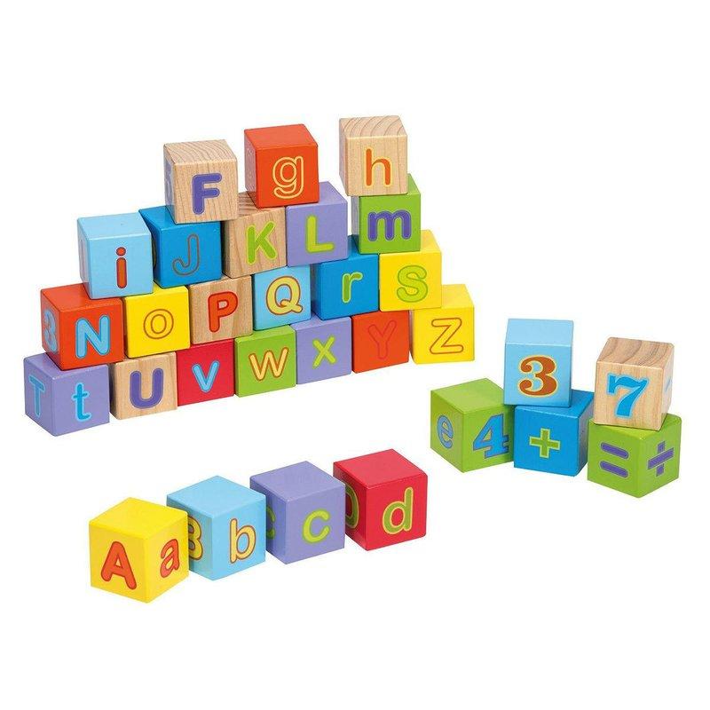 Cuburi din lemn Alfabetul 30 piese