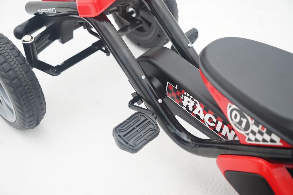 Kart cu pedale cu roti din cauciuc Go Kart Racing Eva Red