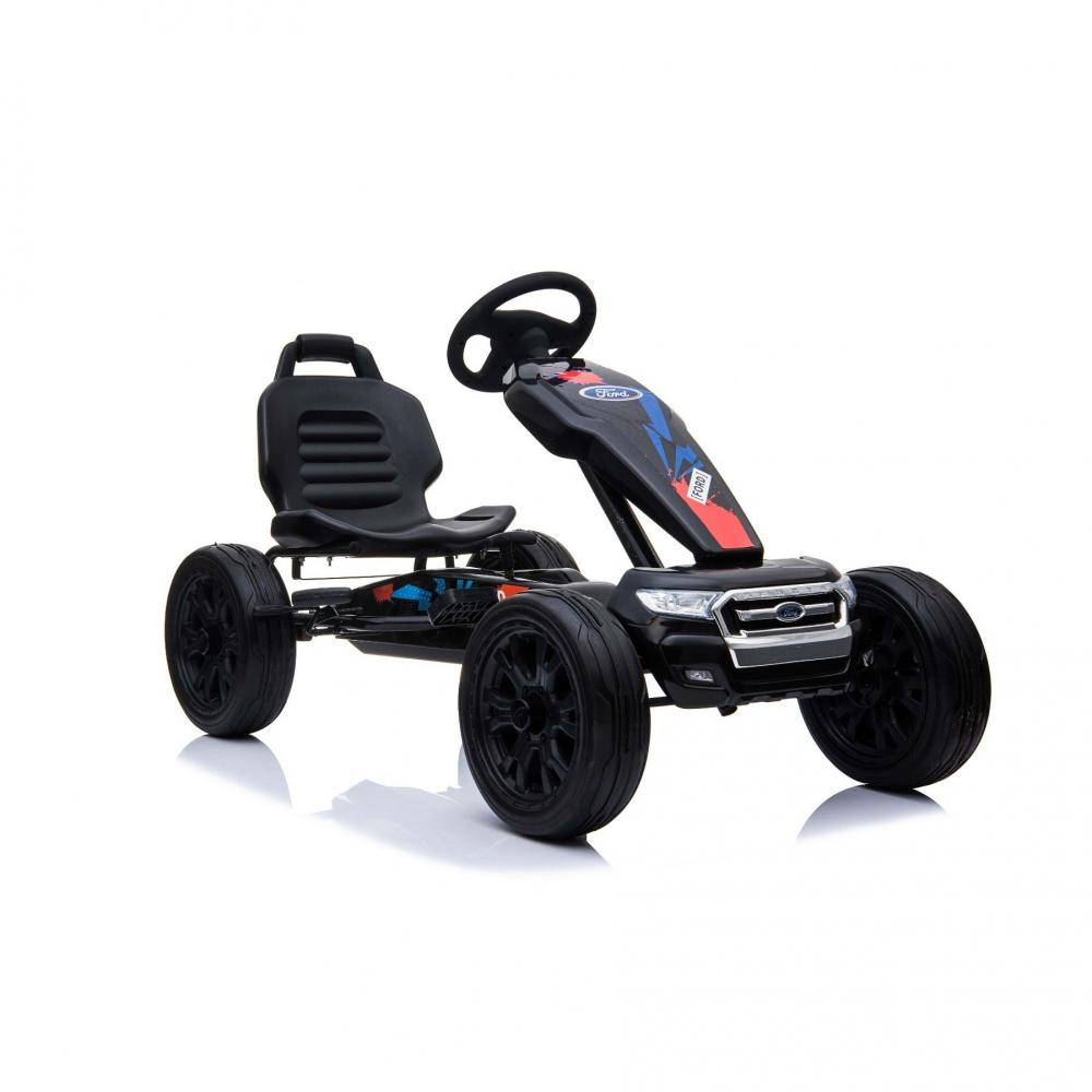 Kart cu pedale si roti din cauciuc EVA Ford Ranger Black