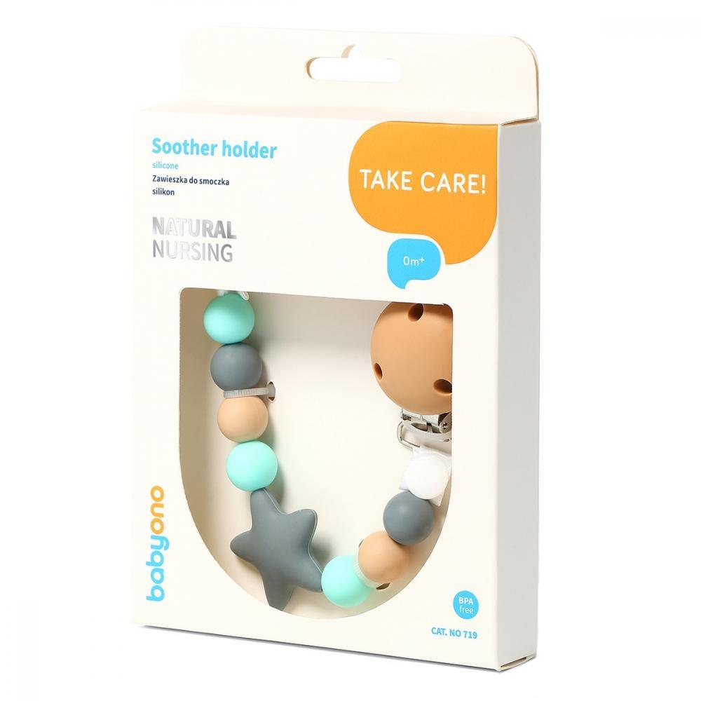 BABYONO Lant pentru suzeta Baby Ono din silicon cu clips Natural Nursing 01