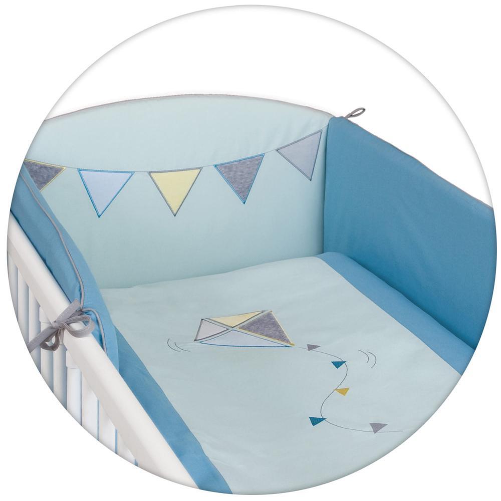 Lenjerie de pat Ceba Baby cu 3 piese Little Kite Menta imagine