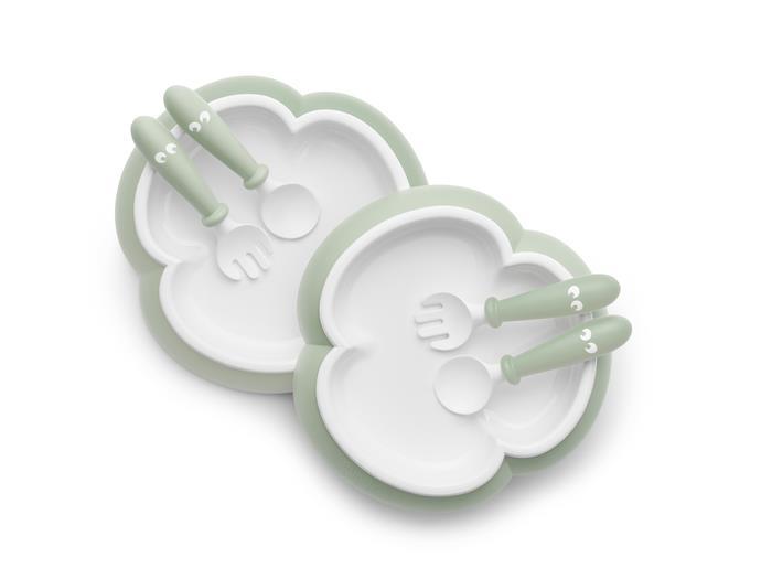 2 Seturi hranire farfurie, lingurita si furculita pentru bebe Powder Green din categoria Alimentatie de la BabyBjorn