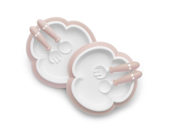 2 Seturi hranire farfurie, lingurita si furculita pentru bebe Powder Pink din categoria Alimentatie de la BabyBjorn