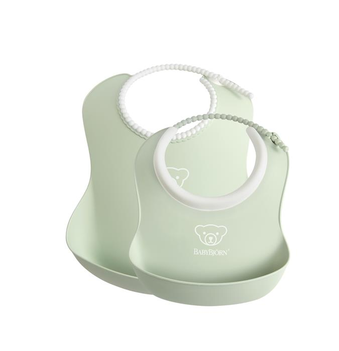 Set 2 bavete Baby Feeding Set Powder green BabyBjorn imagine