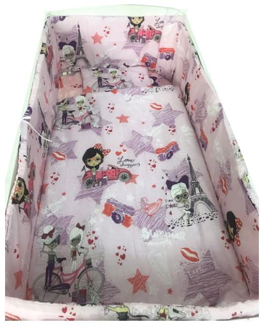 Lenjerie patut cu 5 piese La plimbare roz 140×70 cm din categoria Camera copilului de la Croitoria Noastra