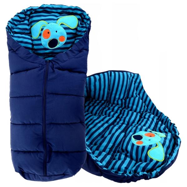 Sac de iarna 4 in 1 Tutumi catel dungi albastru inchis turcoaz