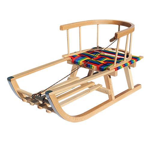 Saniuta de lemn cu sezut textil colorat, suport picioare si spatar