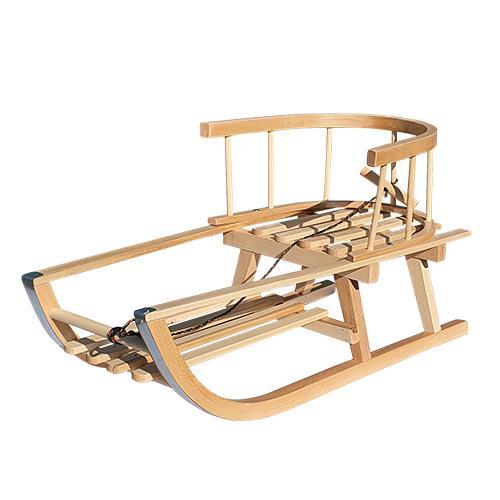 Saniuta de lemn cu spatar si suport pentru picioare