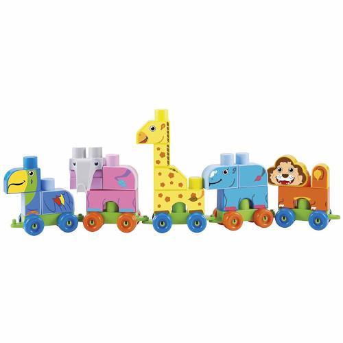 Set de construit maxi cuburi colorate cu tren si animale de la zoo abrick