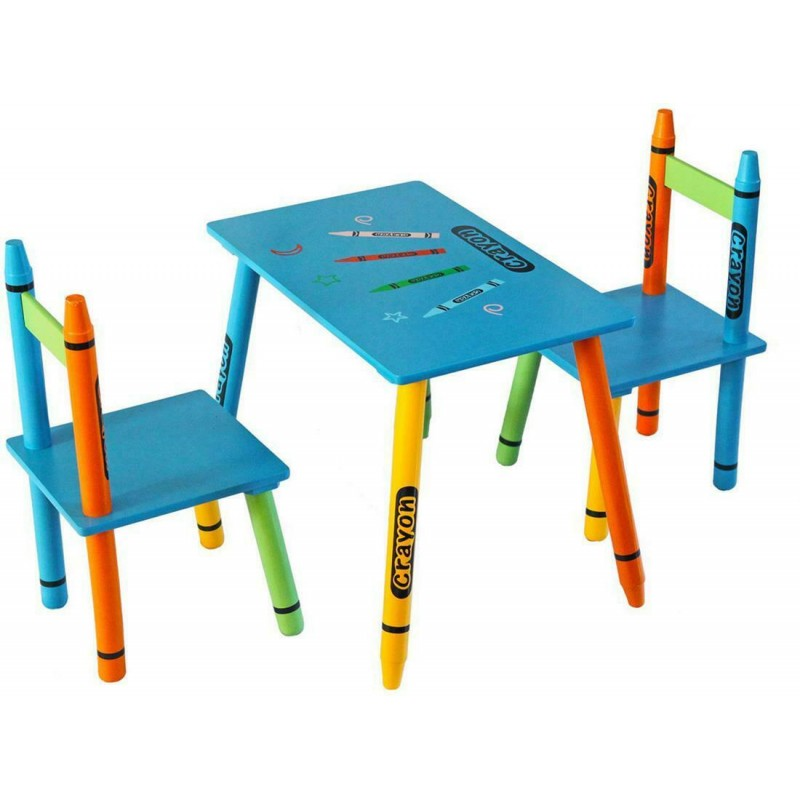 Set masuta si 2 scaunele Blue Crayon
