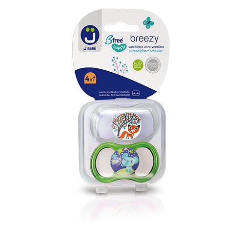 Suzete silicon medicinal 4m+ 2buc JBimbi TransparentVerde imagine