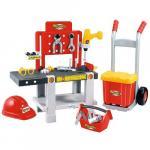 Set mecanic 4 in 1 cu banc de lucru, trusa de scule, carucior si casca de protectie