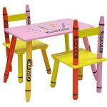Set masuta si 2 scaunele Pink Crayon