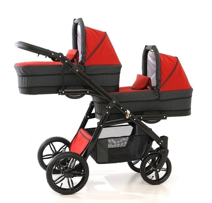 PJ BABY Carucior gemeni Tandem Pj Stroller Lux 2i n 1 Red