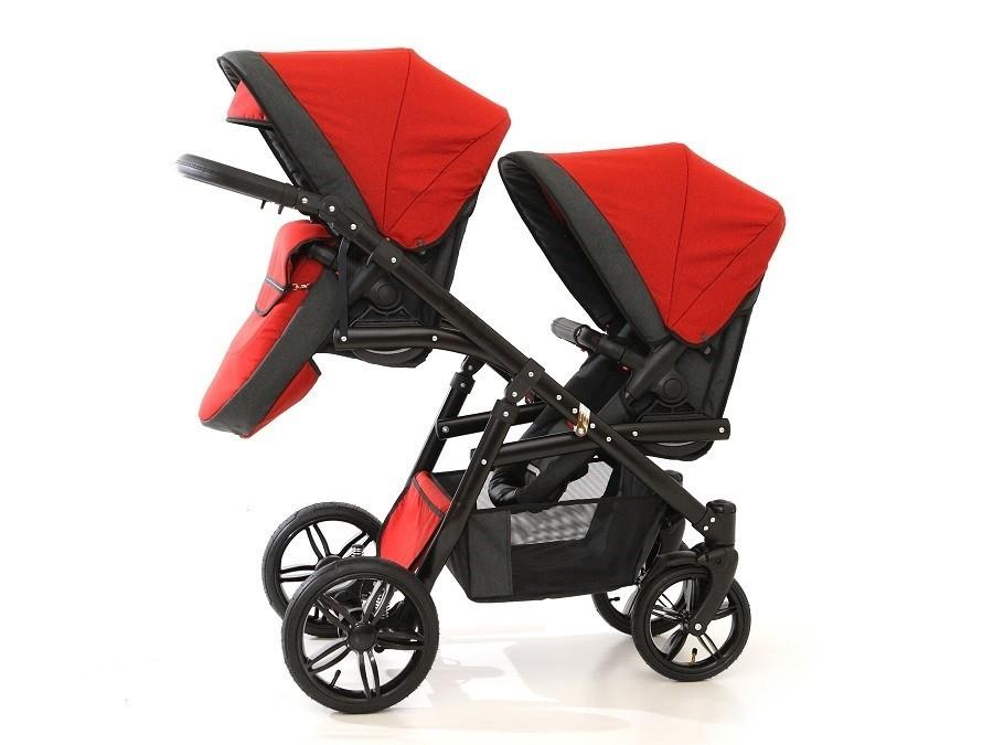 Carucior gemeni Tandem Pj Stroller Lux 2i n 1 Red