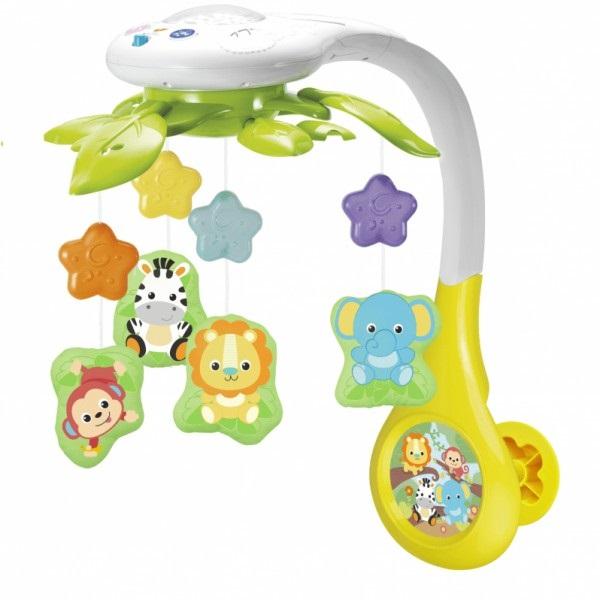 Carusel muzical Winfun Prietenii Junglei pentru patut cu proiector si jucarii detasabile din categoria Camera copilului de la WINFUN