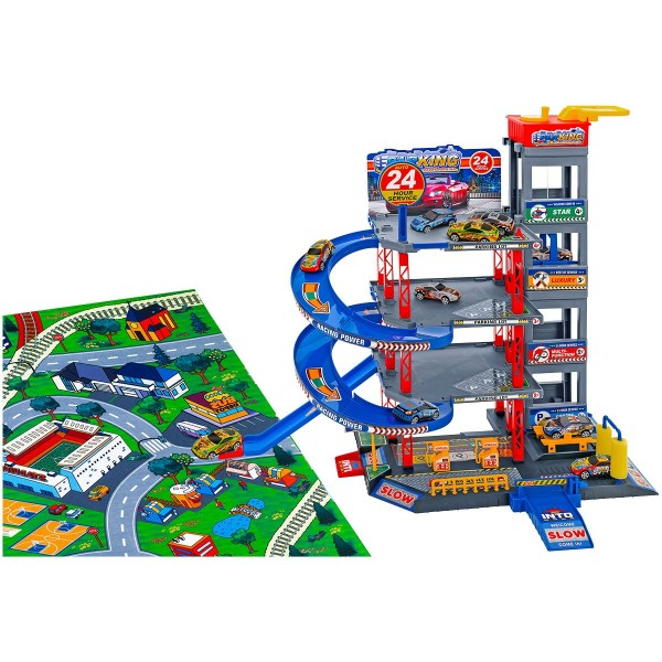 Garaj cu 4 nivele Globo cu covoras de joaca si 5 masini incluse