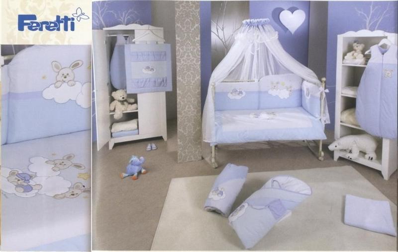 Lenjerie de pat Feretti Duetto Rabbit Blue din categoria Camera copilului de la FERETTI
