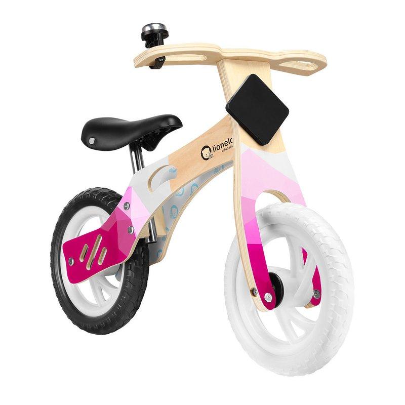 Bicicleta din lemn fara pedale Willy Bubblegum Lionelo