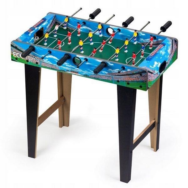 Masa de fotbal din lemn Ecotoys 69 x 36 x 62 cm albastru