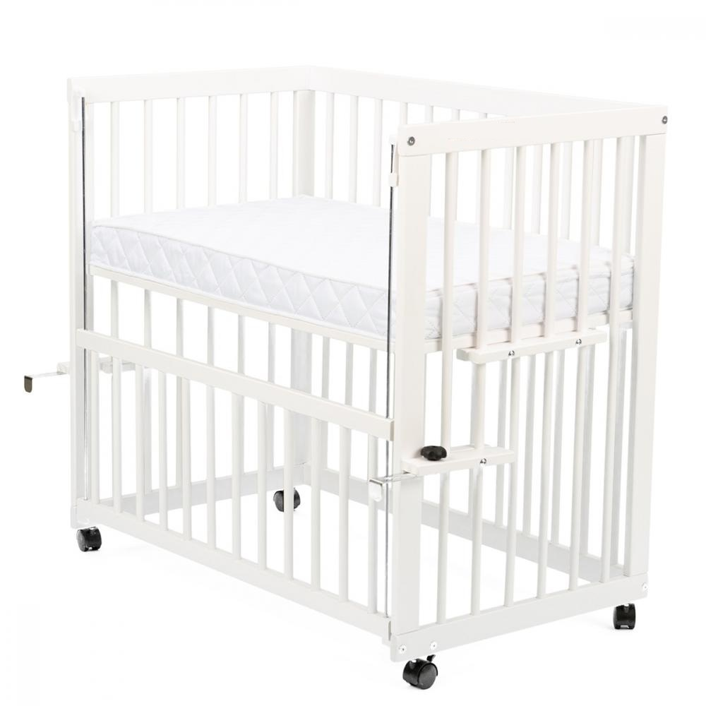 Patut din lemn co-sleeper Dalia Alb