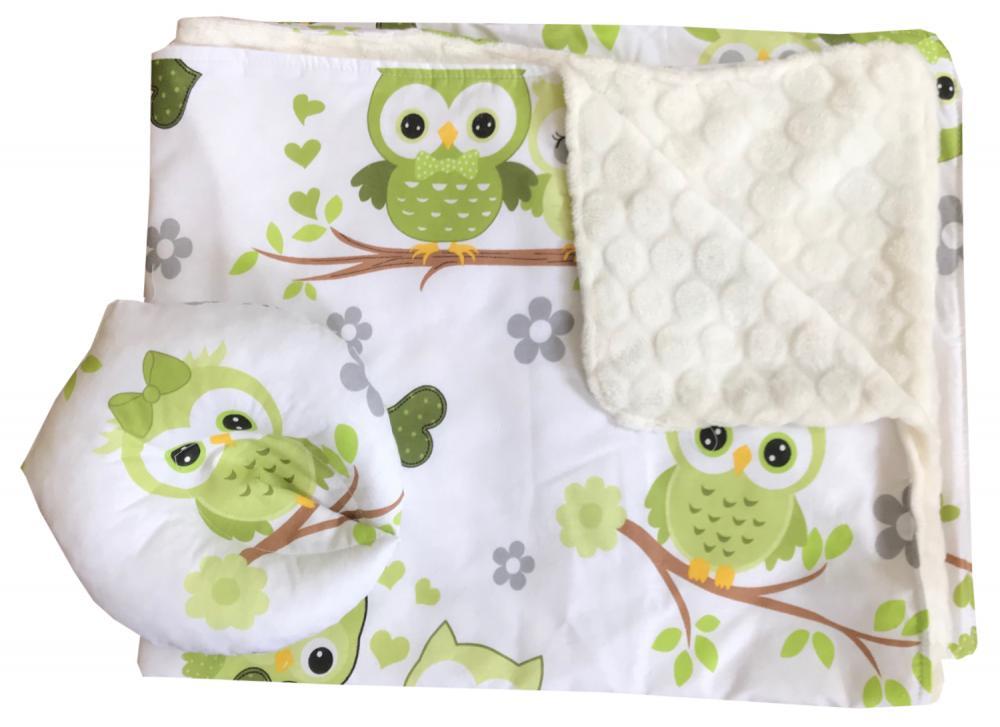 Reductor Bebe Bed Nest cu paturica si pernuta antiplagiocefalie Bufnite verzi