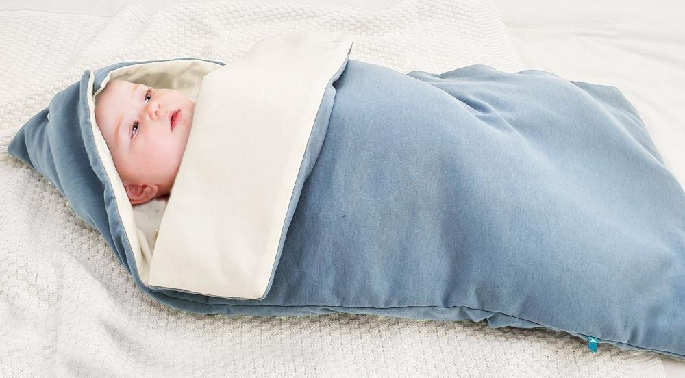 Sac de dormit din bumbac 0-9 luni blue ecru Wallaboo