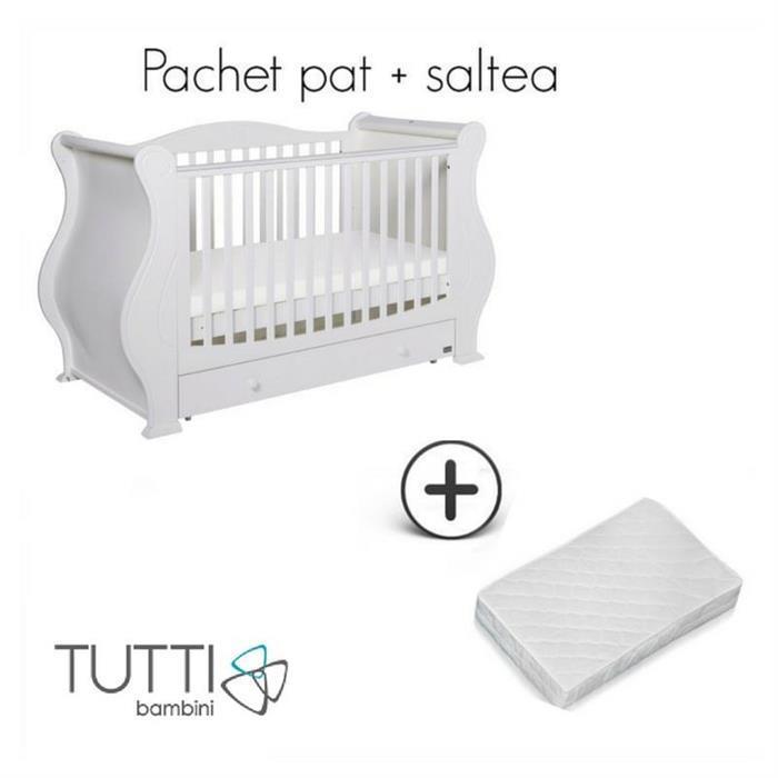Set patut Louis Alb + salteluta pentru bebelusi Tutti Bambini imagine