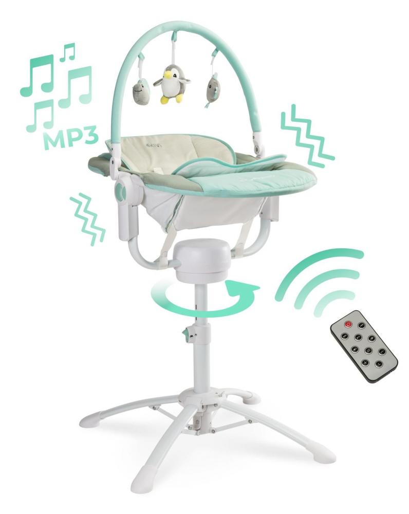 Scaun de masa 3 in 1 Caretero Kivi Blue cu telecomanda imagine