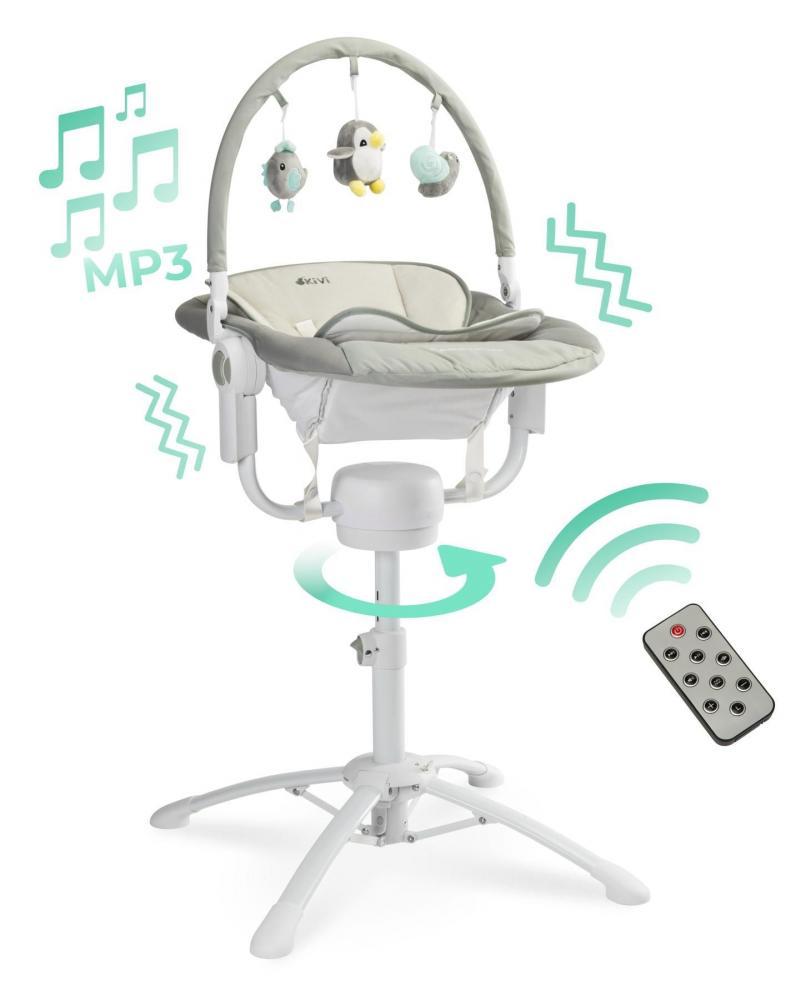 Scaun de masa 3 in 1 Caretero Kivi Grey cu telecomanda imagine