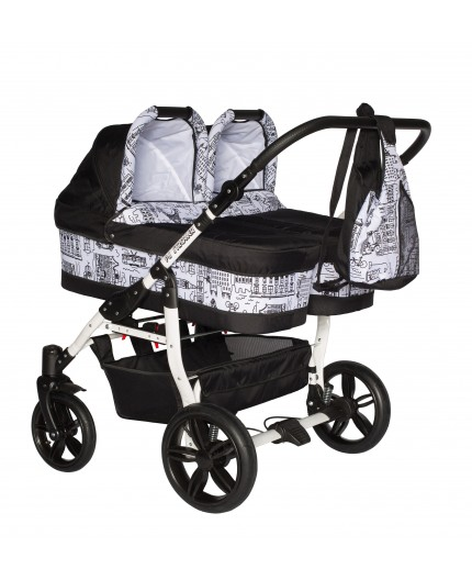 PJ BABY Carucior gemeni Side by Side Pj Stroller 3 in 1 Black
