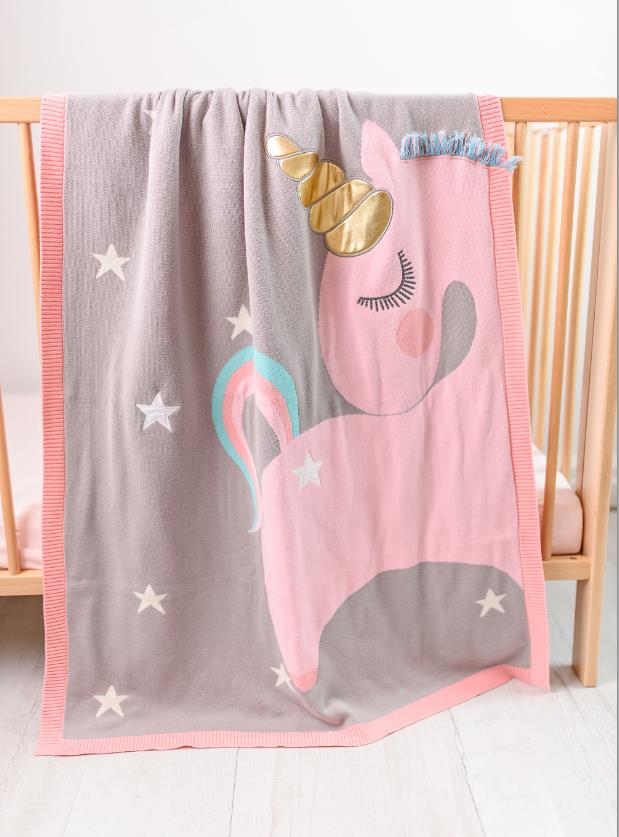 Paturica tricotata din bumbac Unicorn Roz cu Auriu