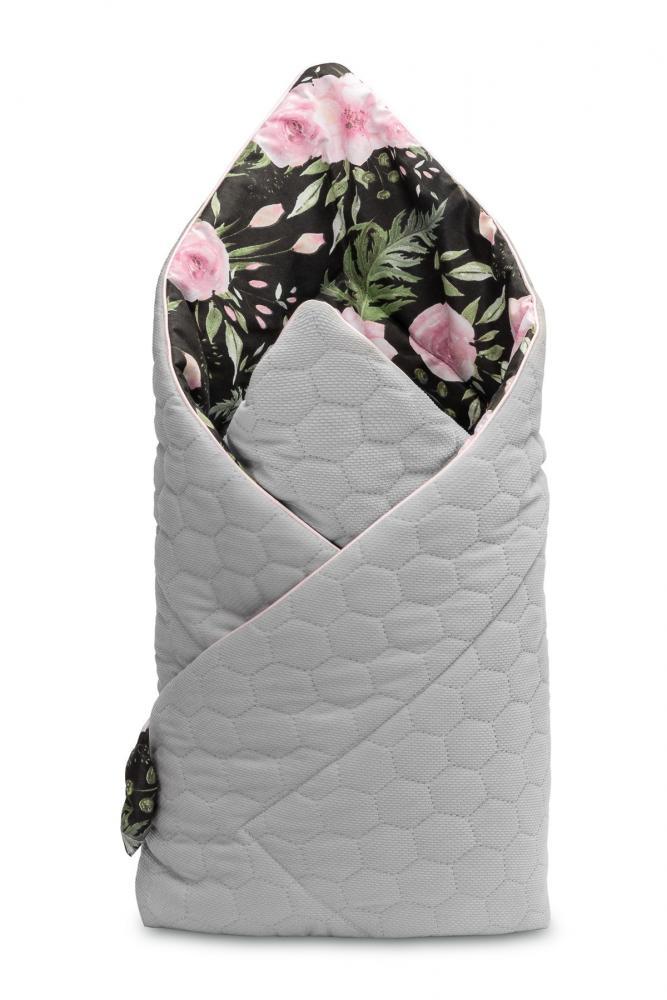 Paturica nou nascut Sensillo Velvet Wrap Flori Negre 75x75 cm