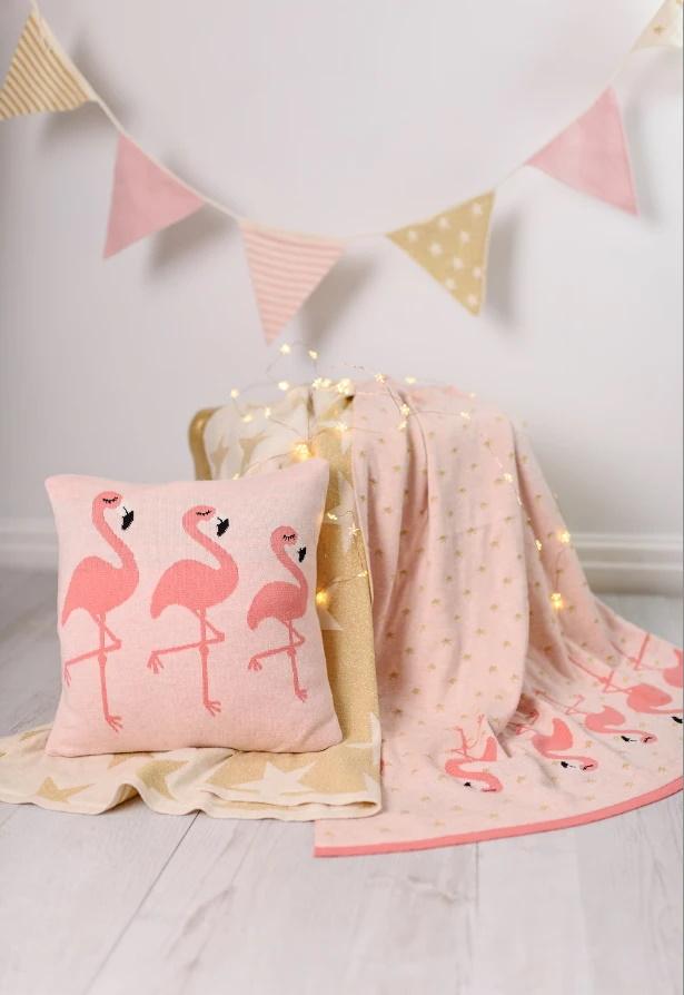 Perna decor bumbac Flamingo Roz
